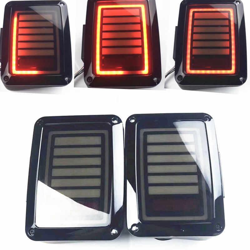 2018 Latest JK Lights 2X Flash LED Reverse Tail Lights Braking Rear Lamp Bulbs For Jeep Wrangler JK JKU Led Tail Light USA/EU