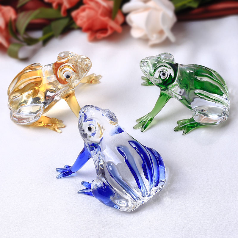 Cute Frog Figurine Crystal Miniature Glass Animal Crafts Pisapapeles para adornos de la casa Decoración del hogar Accesorios Regalos