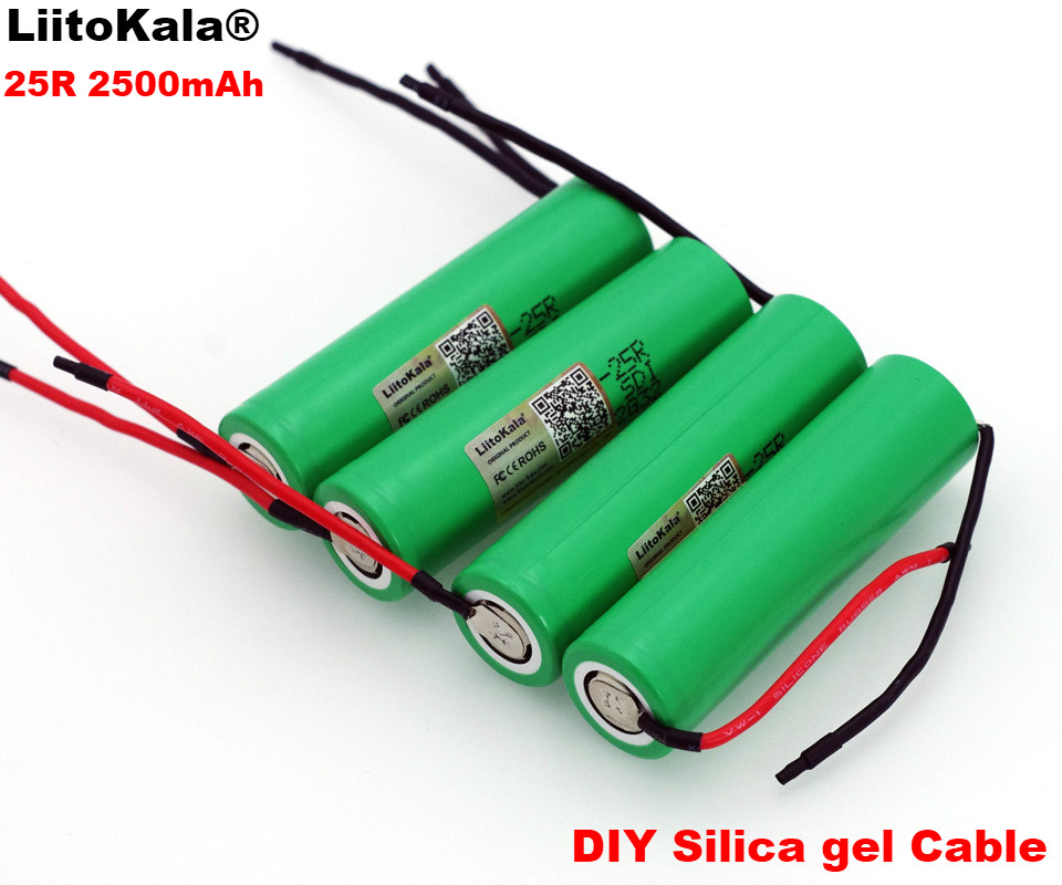 1-10PCS LiitoKala For Samsung New <font><b>18650</b></font> <font><b>2500mAh</b></font> Rechargeable battery 3.6V INR18650-25R 20A discharge + DIY Silica gel Cable image