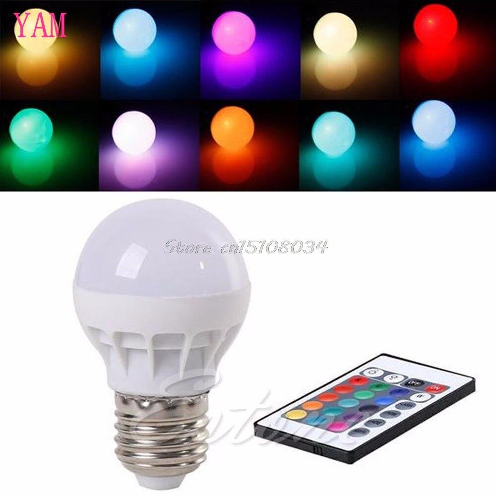 3W E27 AC 85-265V RGB LED Light Bulb Lamp Color Changing+IR Remote Control #S018Y# High Quality rgb led bulb 9w 15w rgb bulb e27 e26 e14 gu10 b22 ac 85 265v rgb led lamp with remote control multi color lamp