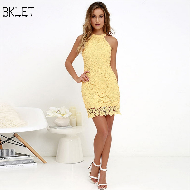 Good Quality 2018 New Arrival Womens Summer Halter Neck Midi Sleeveless Lace Party Cocktail Solid Yellow Dress