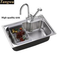 Tangwu drawing 304 stainless steel kitchen sink dish basin single slot 56 x42 - 69 x45 cm