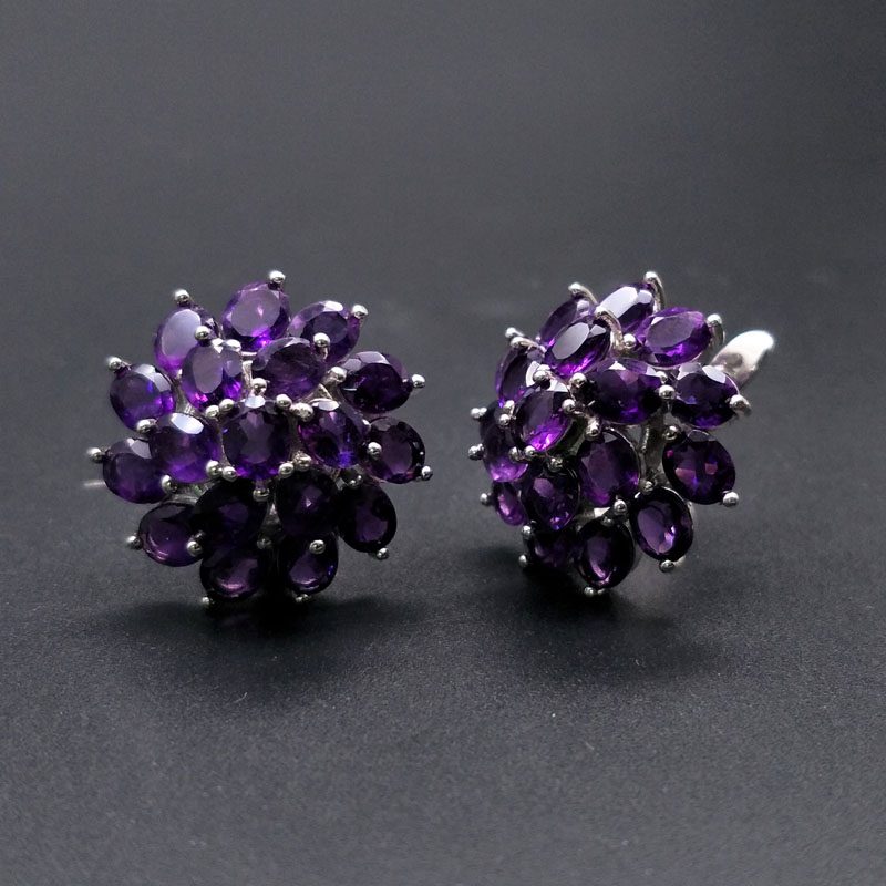 natural gemstone amethyst good clasp earring with 925 sterling silver jewelry simple classic elegant design for women fine gift in Earrings from Jewelry Accessories