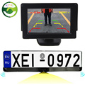 "3in1 HD CCD European Russia License Plate Frame Rear View Camera With 2 Parking Sensors + 4.3"" Car Video Parking Monitor"