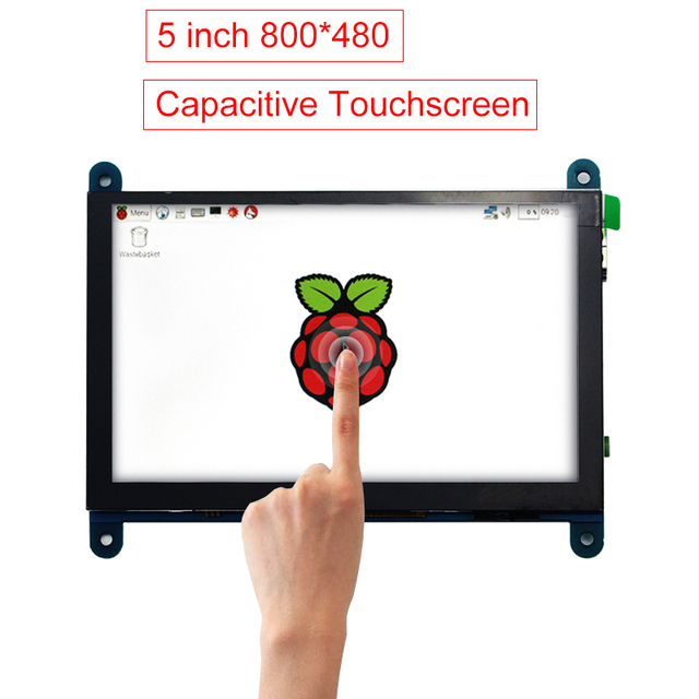 5 inch Raspberry Pi 3 Model B+ Touch Screen 800*480 Capacitive LCD Display + HDMI Cable + USB Cable + CD for Raspberry Pi 3