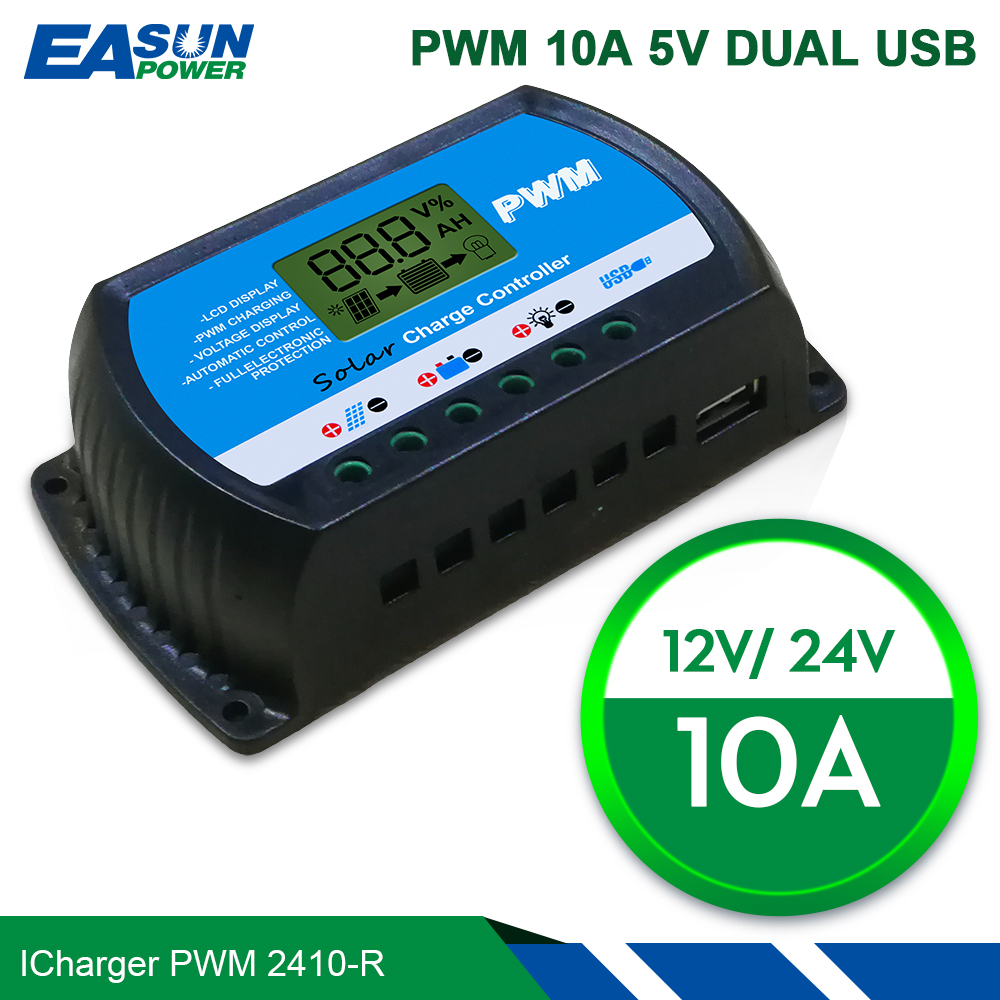 EASUN POWER Solar Charge Controller 30A 20A 10A Voltage Regulator PWM Solar Charge Controller 12V 24V LCD USB 5V Solar Regulator new style metal housing automatic identification power display 12v 24v 30a 20a solar charge controller