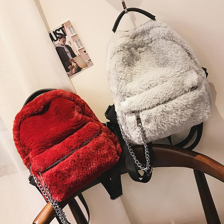 2017 Winter Fashion New Women Backpack High quality Plush Women bag College wind Sweet Ladies Chain Shoulder bag Travel Rucksack 2017 fashion new handbags sweet lady candy color plush small round bag high quality soft cute shoulder bag chain messenger bag