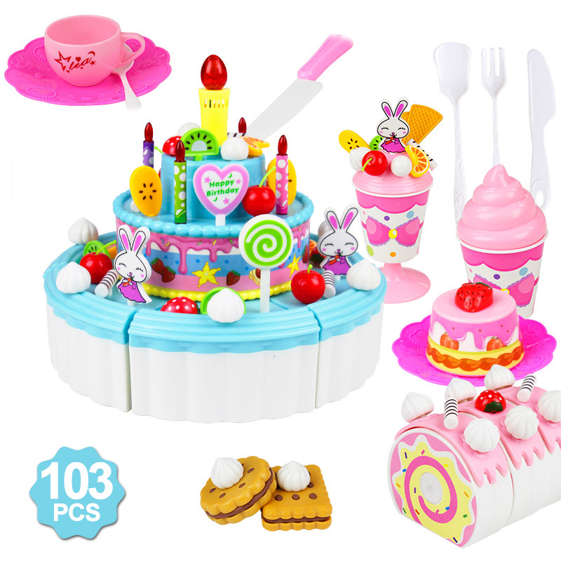 39-103Pcs Kids Cartoon Cake Pretend Play Kitchen Toys Fruit Cake Cutting Birthday Cake Sets Play House Toy For Children Girls