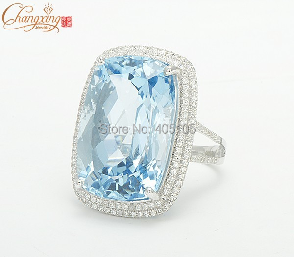 Carat K Solid Gold Natural Diamond Blue Topaz Ring