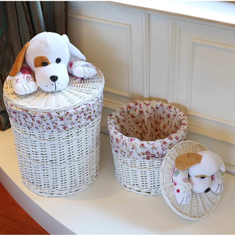 Round wicker basket organizer for Toys Clothes Neatening small