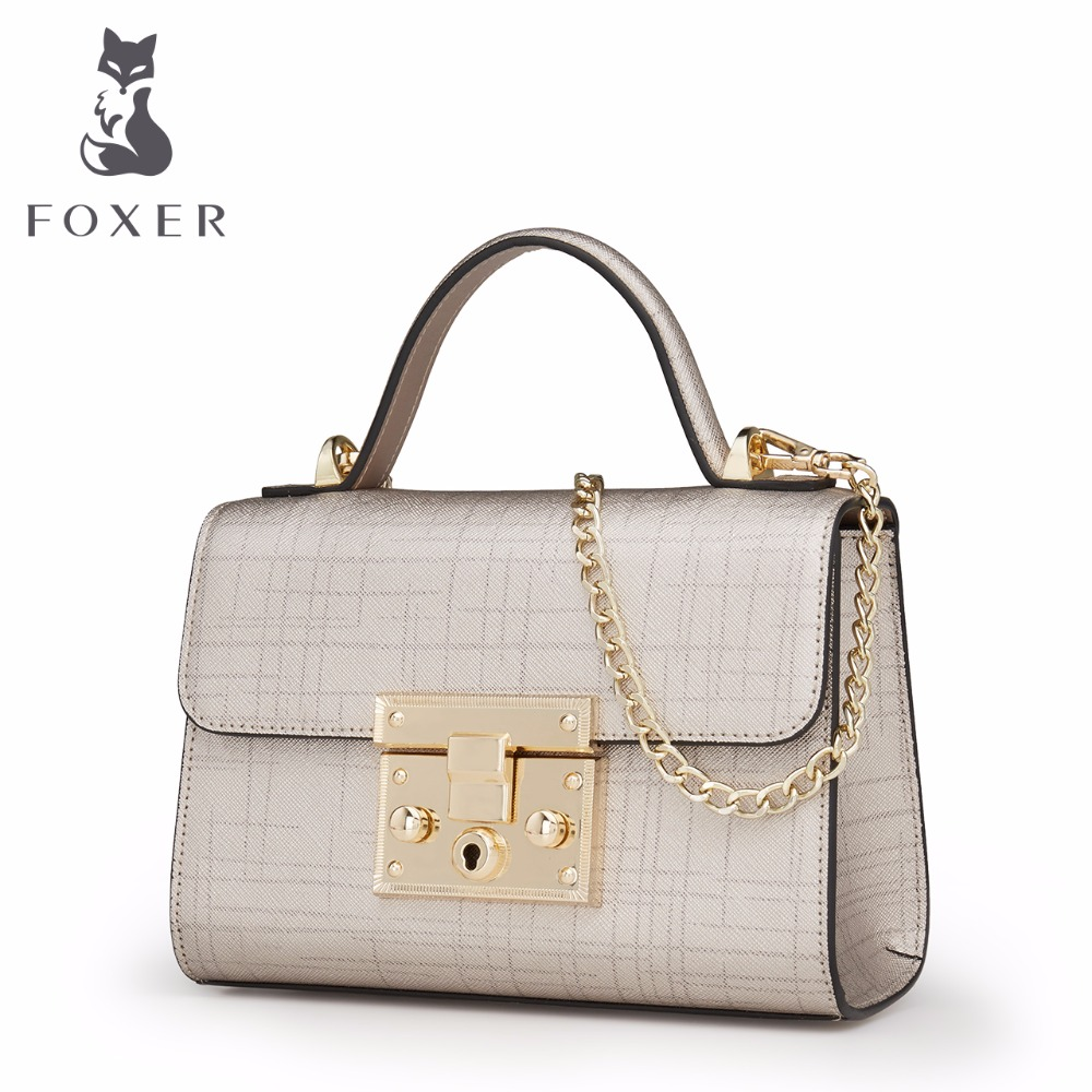 FOXER Women Leather Handbag Designer Chain Shoulder Bags Ladies Flap Totes Fashion Small Crossbody Bag Woman Clutch