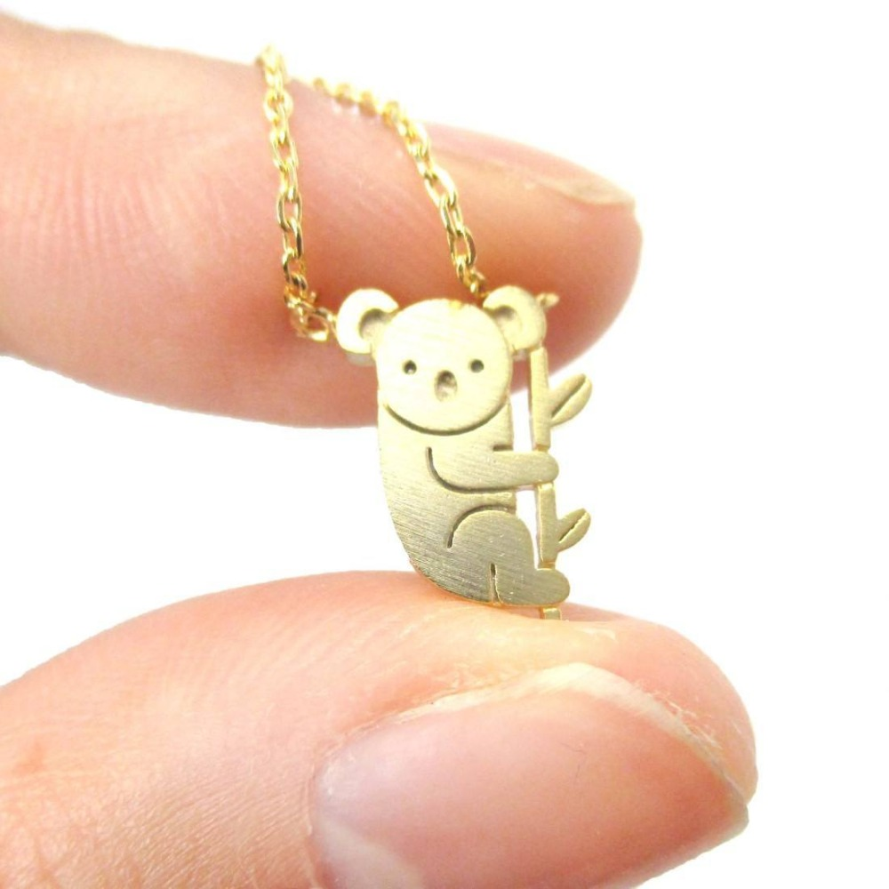 Daisies Adorable <font><b>Koala</b></font> <font><b>Bear</b></font> Shaped Silhouette Charm Necklace Animal Pendant Necklaces For Women Girl <font><b>Jewelry</b></font> 10pcs/lot image