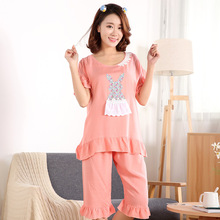 Фотография Lovely Lady Casual Sleepwear Cotton Pajamas Suit Bunny Applique Casual Summer Short Sleeve Tops and Shorts Pyjamas Women Home