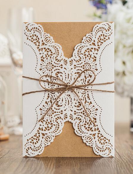 vintage tarjeta de invitacin de boda con el sobre laser cut fiesta de cumpleaos de