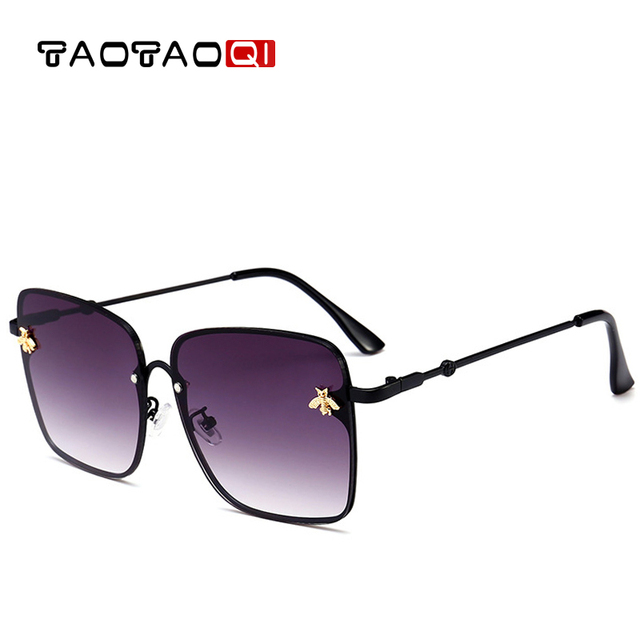 da6c9d70dc TAOTAOQI Women Square Metal Big Frame Sunglasses Women Brand Designer  Little bee Luxury Fashion Sun Glasses Men UV400 Oculos