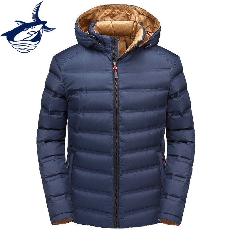 af7ea9ceed1 Casual stylish brand Tace   Shark men s winter down jacket hat men  windproof warm light down