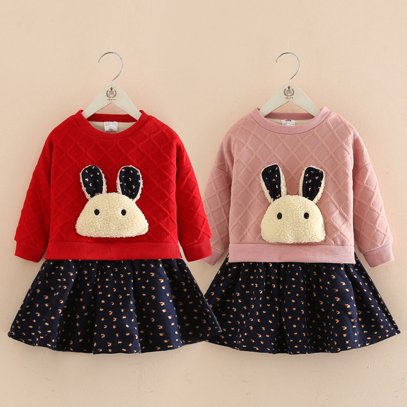 2017 autumn winter baby girls dress cartoon children long sleeved dress Baby Girl Dresses Princess Vestidos qiu dong children dress long sleeved cinderella princess dress love sally dresses of the girls