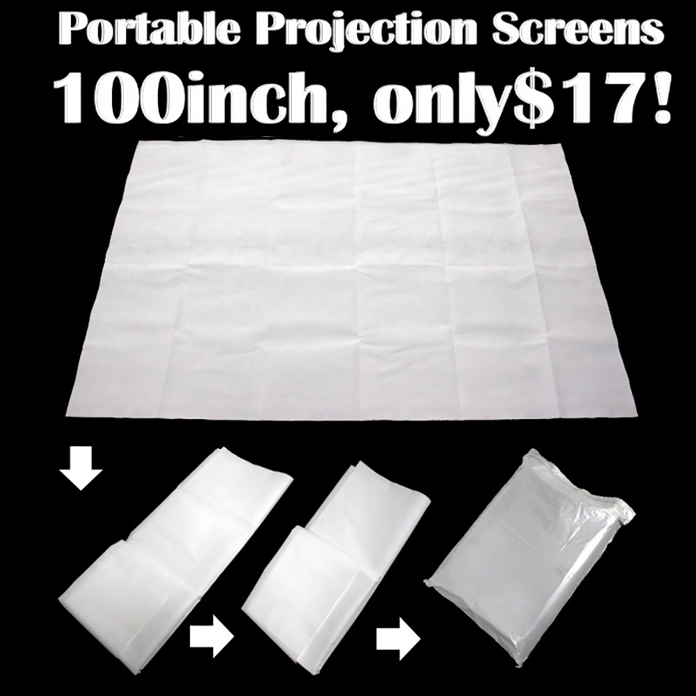 100 Inch Projector Screen 4:3 Portable Matt White Projection Screen HD Projector Accessories Screen for Home Cinema Office женская футболка other t tshirt 2015 blusas femininas women tops 1