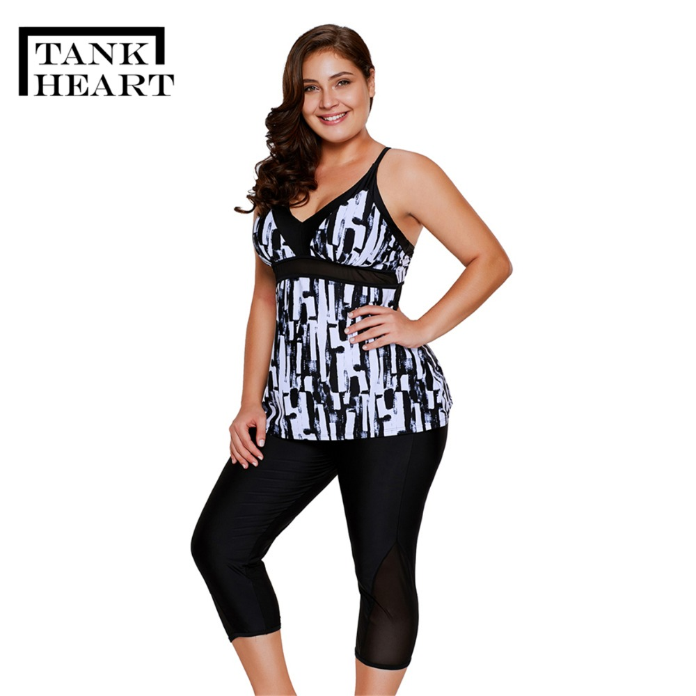 Tank Heart Black Print Bathers Biquini Plus Size Swimwear Women Tankini Set Two Piece Swimsuit With Shorts Badpak Tankinis XXXL