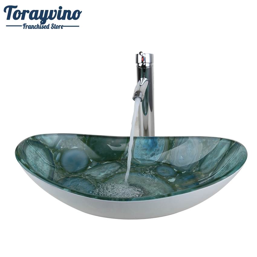 Torayvino Green Stone Oval Glass Washroom Basin Vessel Vanity Sink Bathroom Basin Washbasin Chrome Mixer Faucet Set W/ Drain