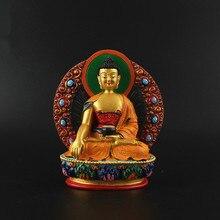 Sakyamuni Resin Buddha Figurine, Bodhisattva Delicate Hand Plated Buddhist Tranic Tibetan Treasure Figure Statue