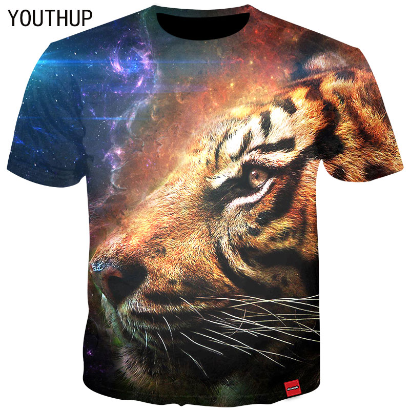 e33457ab0fb YOUTHUP 2018 Summer Men T-Shirt 3D Print Animal Tiger Tees Short Sleeve  Rock Cool T-Shirt Fitness Tops Men T shirts Plus Size
