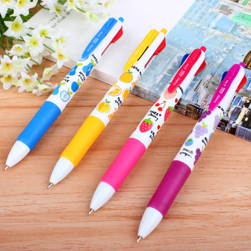 4 colour ballpoint pen cartoon creative gift pens wholesale Korea creative stationery 5 pcs/set random color