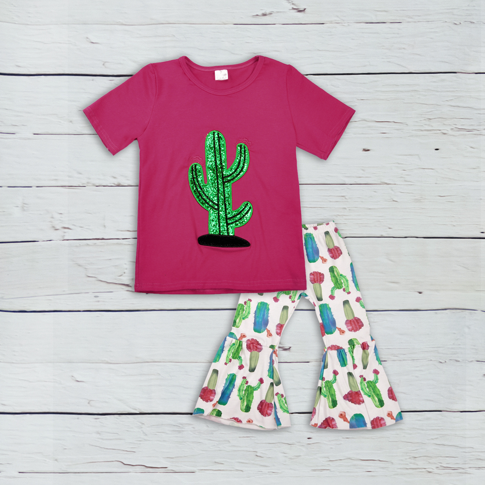 Persnickety Remake Boutique Girls Clothing Fall Catus Embroidery Top Print Ruffle Pants Baby Outfit Clothes 2GK808-586 cherry print stripe ruffle collar top