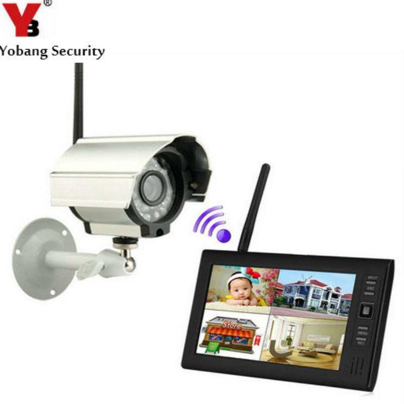 YobangSecurity 7 TFT LCD DVR Monitors 2.4GHz Digital Wireless 4CH CCTV DVR Security Camera Surveillance System (1 Cameras kit) annke 8ch 720p 1500tvl cctv system 8pcs 720p ir outdoor security cameras 8ch 1080n 4in1 dvr kit cctv surveillance system