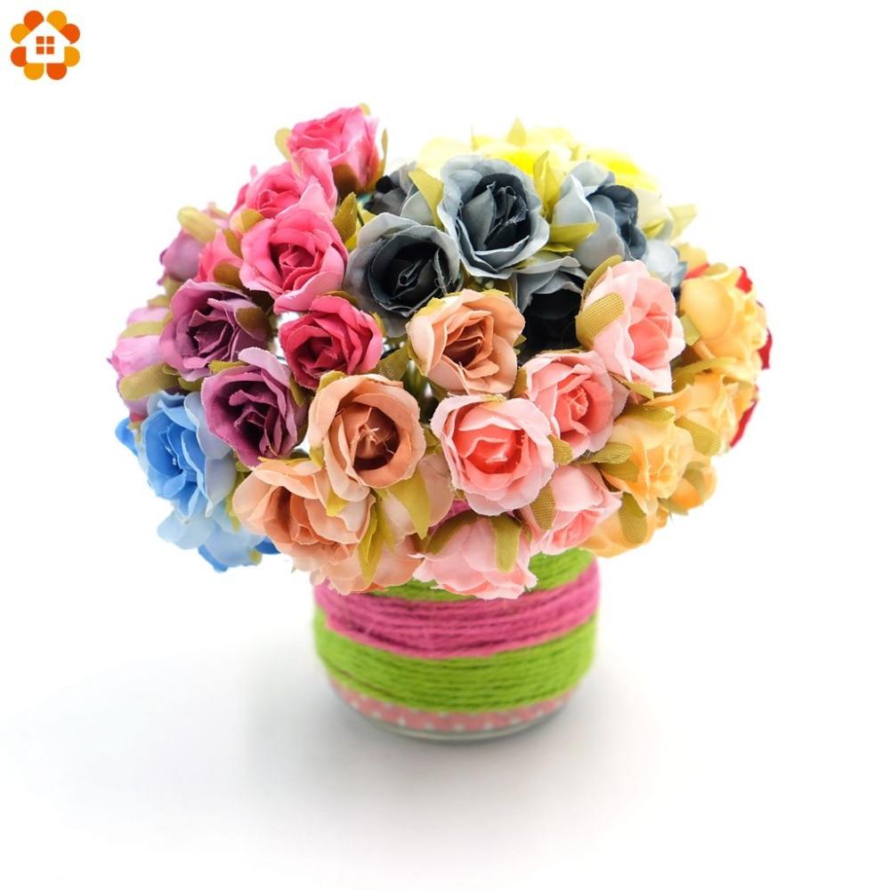 6pcs/lot 2cm Decorative Silk Scrapbooking Mini Rose Artificial Flowers Bouquet For Wedding Decoration DIY Wreath Craft Flower