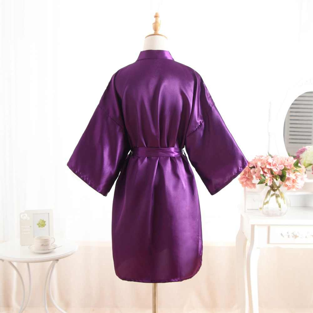 セクシーなパープルワンサイズ花嫁のウェディング固体ローブドレス女性のエレガントなプリントサテンナイトウェア花着物浴衣ドレスパジャマ