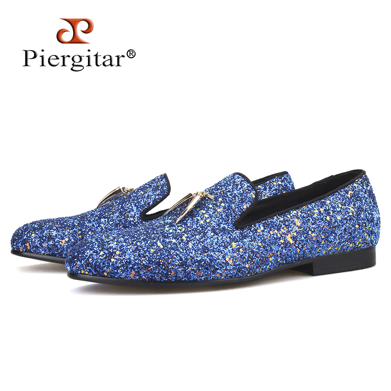 Piergitar 2019 New Blue And Sky Blue Colors Handmade Classic Men's Loafers With Gold Metal Tassels Party Men Leather Shoes
