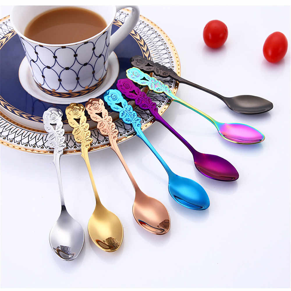 Stainless Steel With Long Handle Ice Spoon Coffee Spoon Tea Stainless Flower Spoon Coffee Tea Spork Flatware Dessert Salad Tool