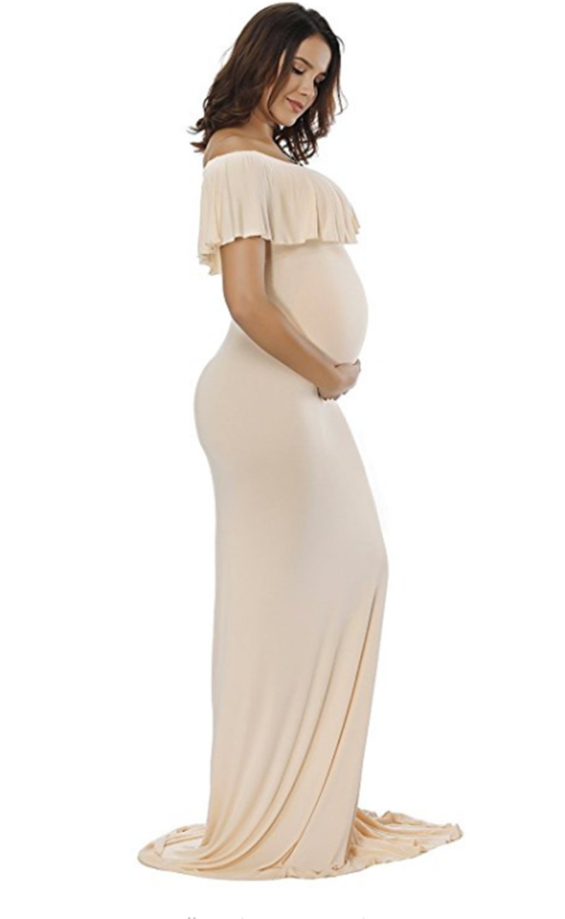 Maternity Dresses For Photo Shoot, Fancy sexy womens Off Shoulder Ruffles Pregnancy Slim Fit Gown Maxi Dress Photography Props