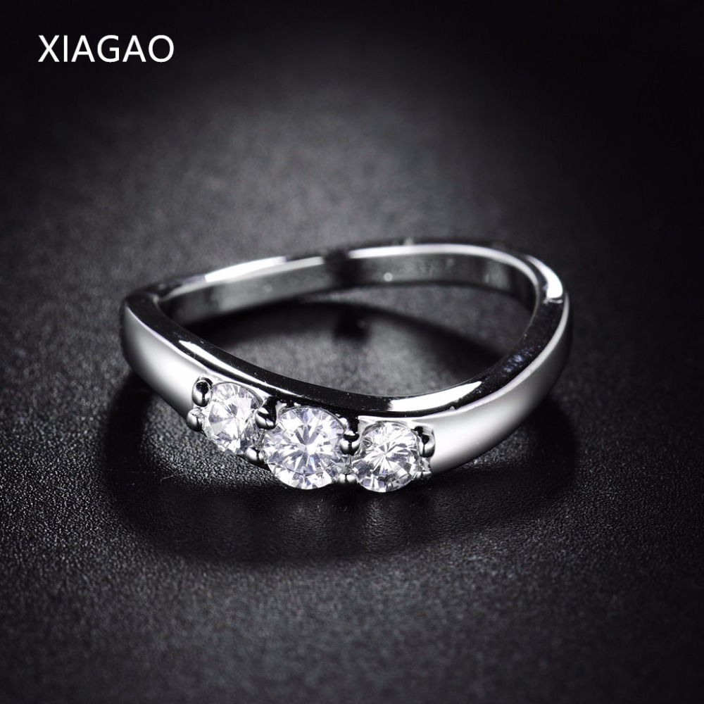XIAGAO Unique Irregular Shape Finger Ring Female Ladies Wedding Engagement Rings for Women Silver Color Cubic Zirconia XGR044