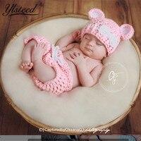 Cor rosa Bebê Meninas Bonito Conjunto Traje Crochê Orelhas Chapéus Calças Set Newborn Fotografia Props Foto Adereços Presente para Recém-nascidos