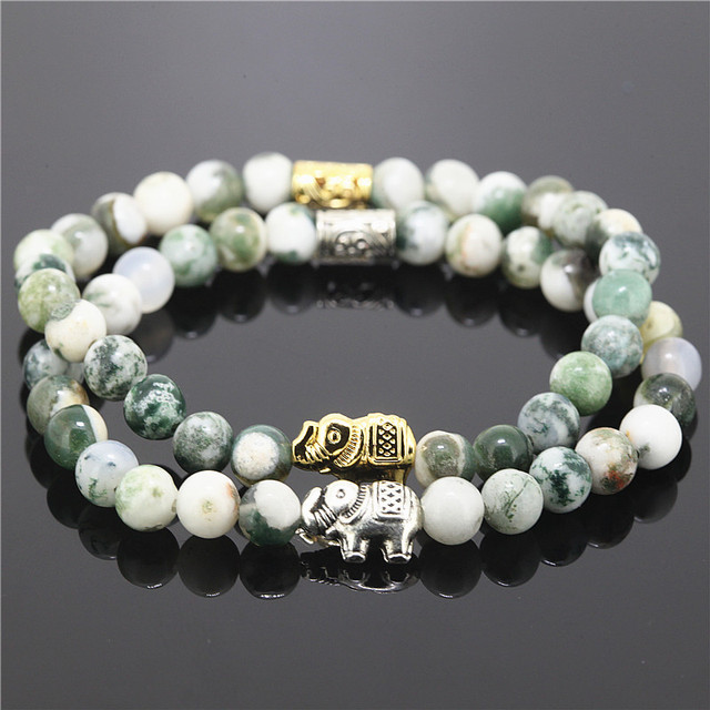 2pcs Green And White Indian Beads Stretch Bracelet Women Natural Stone Animal Pendant Charms Elephant