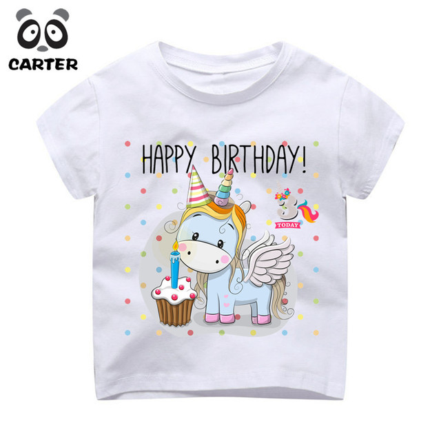 Girls Happy Birthday Unicorn 1th 2th 3th 4th 5th 6th 7th 8th 9th Design T Shirt Kid Great Kawaii Birhtday Gift Number