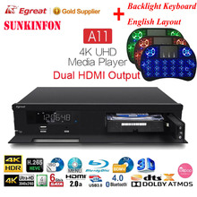 Home Theatre Egreat A11 3D 4K Blu-ray HDD Media Player Dual HDMI Output UHD Android TV Box 2.4G/5G Dual WiFi HDR10 Dolby DTS:X egreat a8 tv box 4k uhd blu ray media player 2g 8g android 5 1 hdr kodi