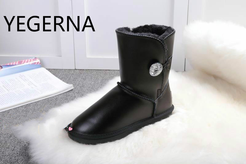 2016 new Australia Hot Sale classic waterproof cowhide genuine leather snow boots winter shoes for women image