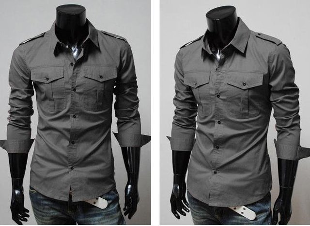 Free Shipping  2014 New Mens Shirt  Men's Casual Slim Fit Stylish ...