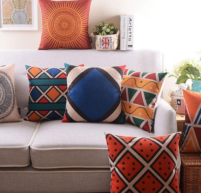 Free Shipping!!Blue orange vintage geometric pillow/almofadas case seat chair bed,boho cushion cover,decorative throw pillows