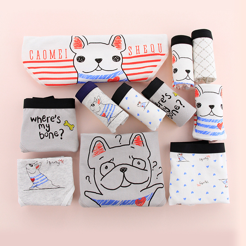 SP&CITY Fashion Animal Cute Pug Cartoon Panties Girls Student Cotton Underwear Women Soft Physical Pant Seamless Briefs Kwaii