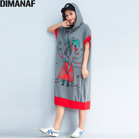 DIMANAF Plus Size 2018 Summer Hoodies Women Cotton Cartoon Oversized Fashion Casual Elegant Loose Long Dress With Hat Hoodies