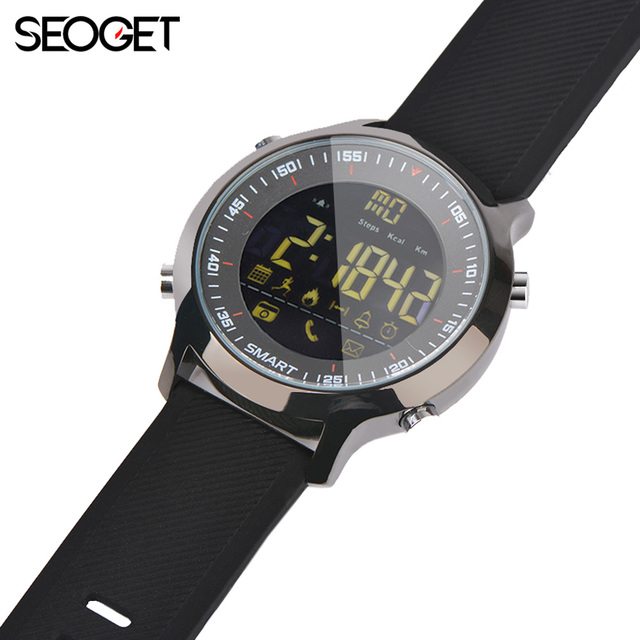 Seoget IP68 глубокий Водонепроницаемый Смарт-часы Для мужчин Bluetooth Спорт Smart Watch Android фитнес-часы вызова SMS напоминание SmartWatch