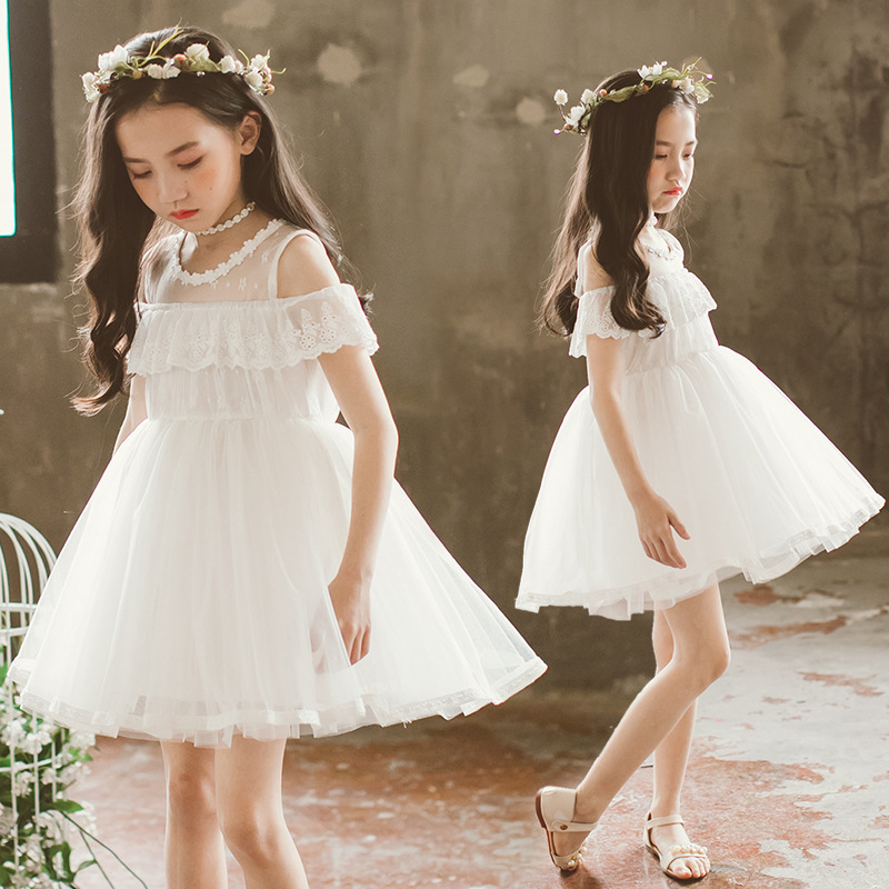 ball gown big girls princess dress white lace summer kids little girl clothes ruffles party baby birthday children dresses 2018 цена