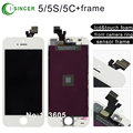 LCD display touch screen digitizer For iPhone 5S 5C 5 assembly complete & lcd+touch foam & front camera ring & sensor frame