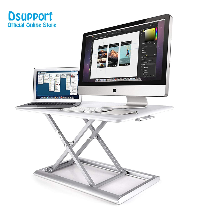 Standing Desk Converter Height Adjustable Sit Stand Up Desk Aluminum Lapdesk for Monitor and Laptop Sit to Stand in Seconds giantex height adjustable standing desk converter sit stand computer laptop workstation modern wood furniture hw57064