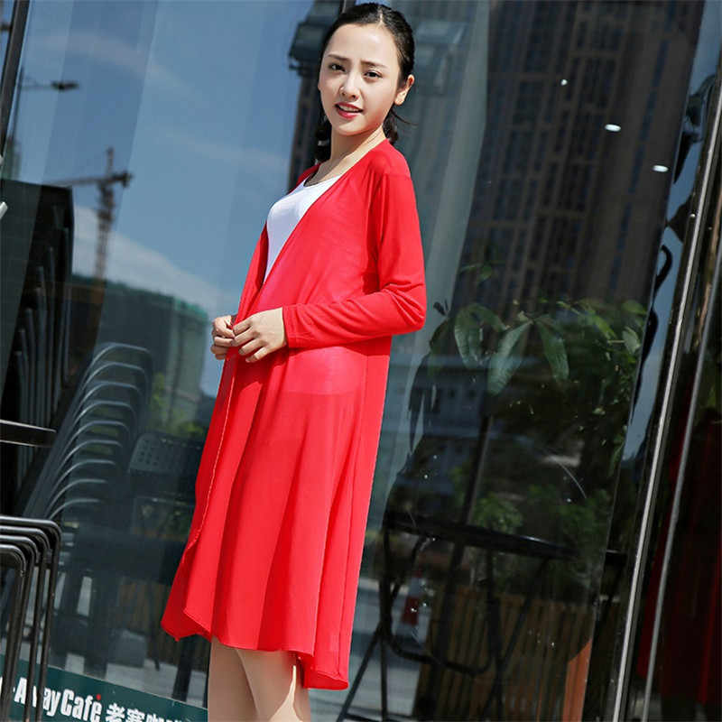 2018 Yaz kadın Trençkot Yeni güneş koruma giyimi Hırka Ultra İnce Mesh Şal Artı boyutu Uzun Giyim IOQRCJV H170