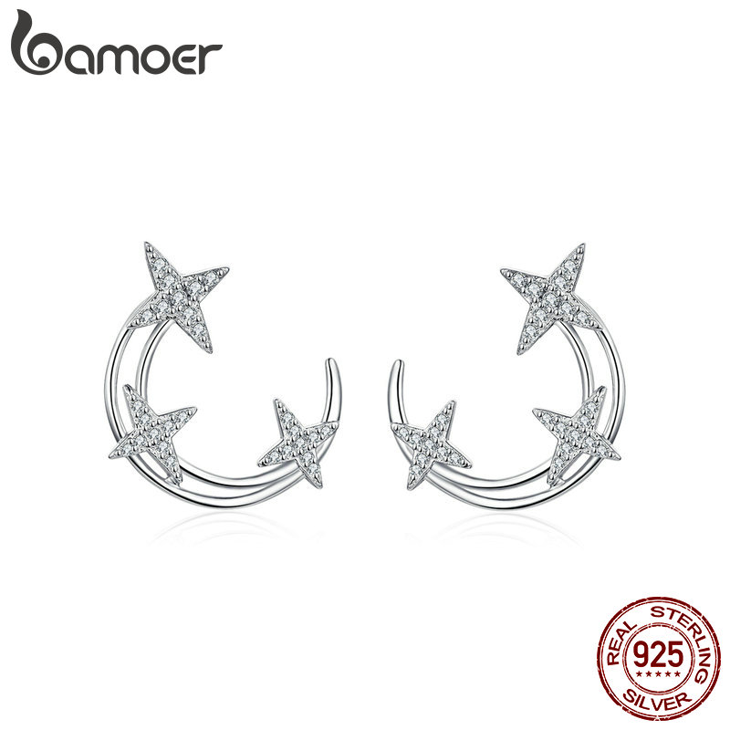 BAMOER Moon & Star Stud Earrings Sterling Silver Shining Galaxy Universe Earring Women Engagement Statement Jewelry BSE107BAMOER Moon & Star Stud Earrings Sterling Silver Shining Galaxy Universe Earring Women Engagement Statement Jewelry BSE107